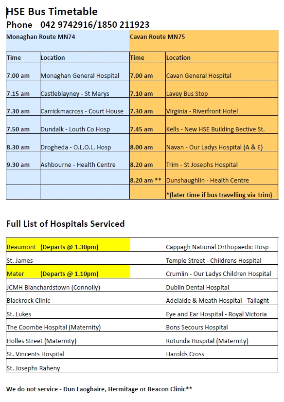 hospital bus service to dublin Oct 2017